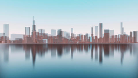 3D Chicago city skyscrapers reflected in water Animation