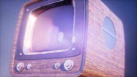 retro tv on blue sky background with light ビデオ