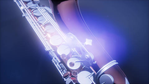 Golden Tenor Saxophone on blue background with light Footage