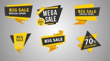 11 Flat sale label v2 After Effects Template