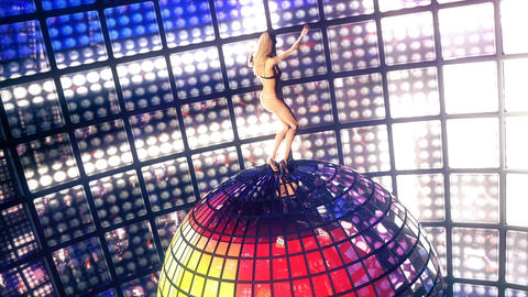 Beautiful girl dances on disco ball. Loopable Animation