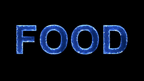 Blue lights form luminous text FOOD. Appear, then disappear. Electric style Animation