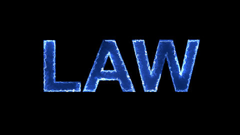 Blue lights form luminous text LAW. Appear, then disappear. Electric style Animation