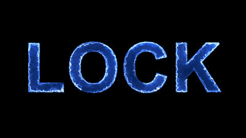 Blue lights form luminous text LOCK. Appear, then disappear. Electric style Animation