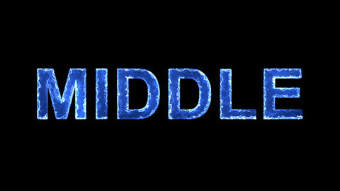 Blue lights form luminous text MIDDLE. Appear, then disappear. Electric style Animation