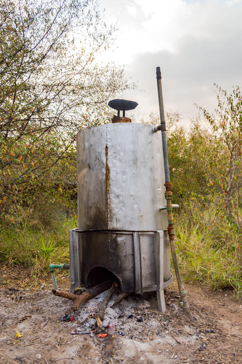 Wood water heater in the savannah amboseli in Kenya Photo