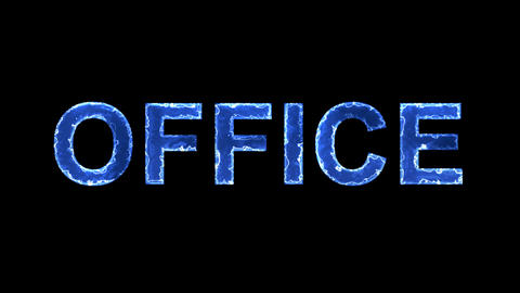 Blue lights form luminous text OFFICE. Appear, then disappear. Electric style Animation