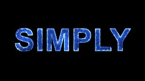 Blue lights form luminous text SIMPLY. Appear, then disappear. Electric style Animation