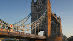 Tilt down Tower Bridge to the River Thames on a stunning clear autumn morning wi Footage