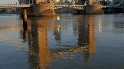 Reflections Of Tower Bridge In The River Thames At Sunrise. Taken On A Clear Aut stock footage