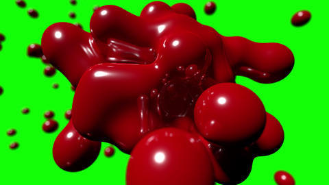 Blob floating abstract tech bio liquid blood chemical paint background loop 4k Footage