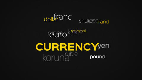 Floating Currency Words Array Black Animation