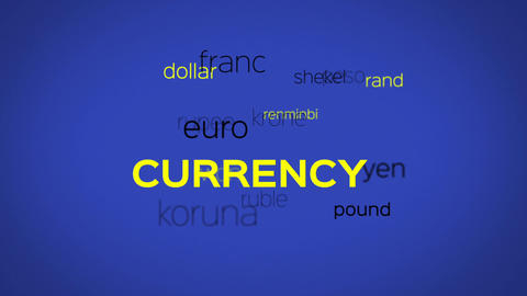 Floating Currency Words Array Blue Animation