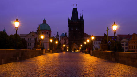 Tourists and Photographers on the Charles Bridge. Time Lapse 4K Footage