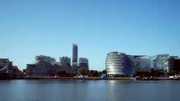 Fast pan from Tower Bridge to The Shard and City Hall on the south bank of the R Footage
