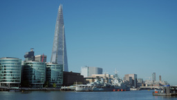 View of the Shard and City Hall on the South Bank of the River Thames. Taken fro Footage