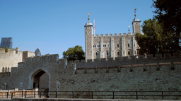 Static shot of the front of the Tower of London as taken from the banks of the T Footage