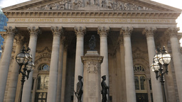 Tilt Down The Facade Of The Royal Exchange Building In Central London. Shot In 4 stock footage