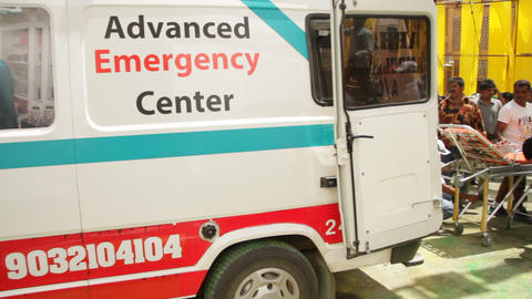 Ambulance at Hospital Exterior Live Action