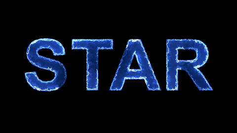 Blue lights form luminous text STAR. Appear, then disappear. Electric style Animation