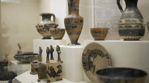Classic Greek Pottery on Display Footage