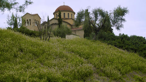 Greek Church in Beautiful Field Footage