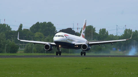 Airbus A320 of British Airways landing at Schiphol airport Footage