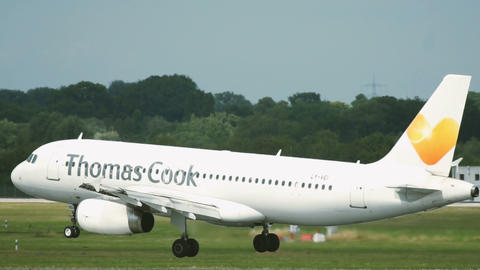 Airbus A320 of Thomas Cook landing at Dusseldorf airport Footage
