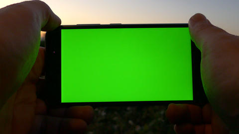 Landscape with green screen phone 画像