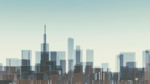 Chicago city skyscrapers abstract 3D animation Animation