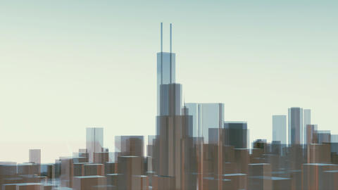 Abstract Chicago city skyscrapers Willis Tower Animation