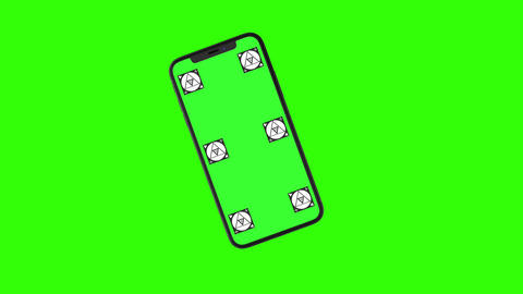 Isolated Smart Phone with Green Screen Animation