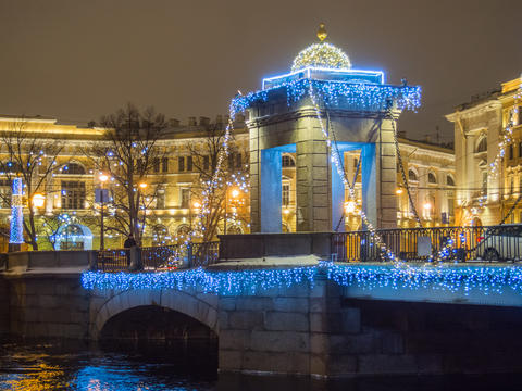 St. Petersburg, Russia - December 22, 2017: Night illumination of The Lomonosov フォト