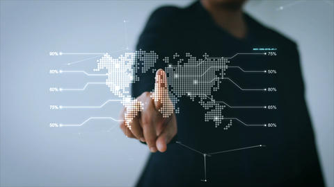 Hand of business woman pointing at UI world map with user interface and icon for Image