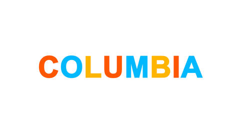 State Name COLUMBIA from letters of different colors appears behind small Animation