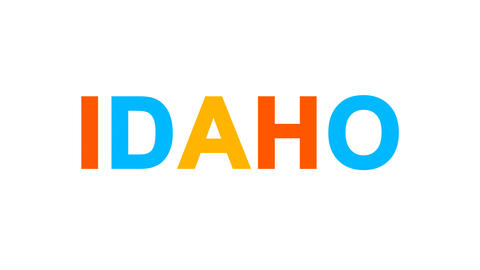 State Name IDAHO from letters of different colors appears behind small squares Animation