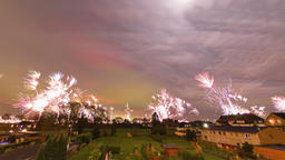 Cinemagraph of colorful fireworks at in the suburbs of Germany Footage