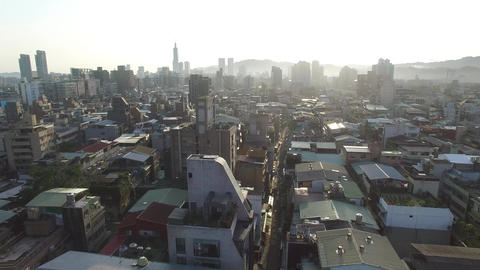Taipei Shida Neighborhood Aerial in Da'an District, Taiwan Footage