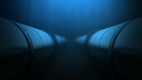 Two oil pipes under water loop Animation
