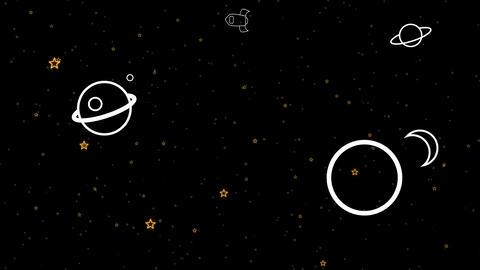 Rocket In Space Retro Cartoon Animation Animation