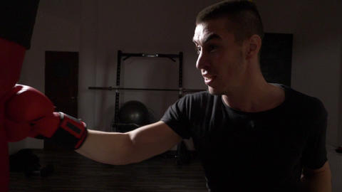 Profile of young athletic boxer wearing red boxing gloves and hitting the Footage
