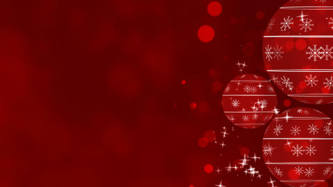 Christmas Ornaments on Red Background Loop Animation