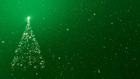 Christmas Tree and Snowfall on Green Background Loop GIF