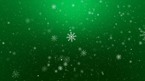 Snowflakes on Green Background Loop Animation