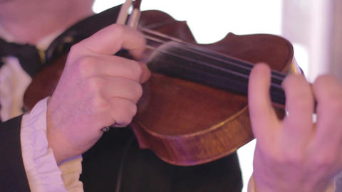 Musician plays fingers the violin, a classical musical instrument Footage
