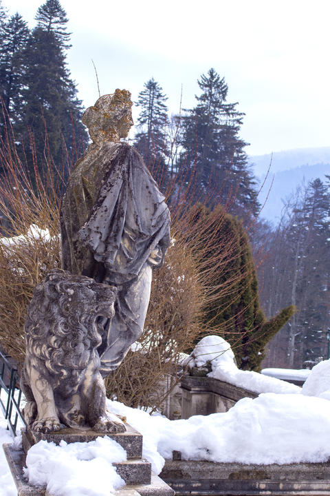 Sculpture from the 19th century on the background of the Carpathians in Sinai, Photo
