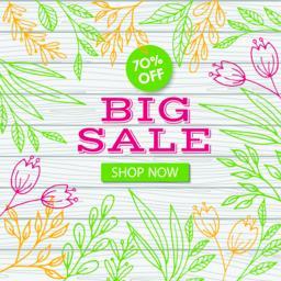 Big sale banner template. Vector discount flyer Vector