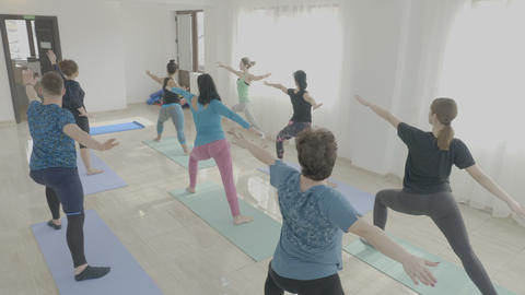 Yoga class made of corporate middle aged women exercising warrior pose in a Footage