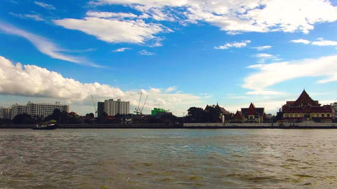 Sand boat in the Chao Phraya River Water transport Footage