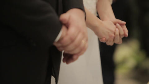 joined hands bride at a wedding Footage